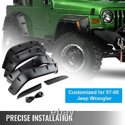 For Jeep Wrangler TJ 7 Wide Pocket Style Protector Fender Flares 6pcs 97-06