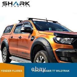 Ford Ranger T7 Wildtrak 2015-2018 Wide Wheel Arch Fender Flares Kit Black Matte