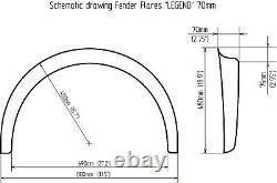 Universal JDM Fender flares LEGEND wide body wheel arch ABS 65mm 2pcs set